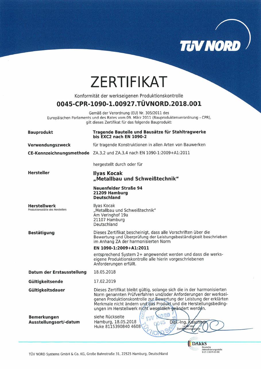 Tuev Nord Zertifikat